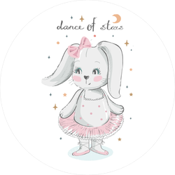 Bunny Ballet Dancer Baby Sticker