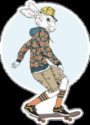 Bunny Boy Riding On A Skateboard Sticker