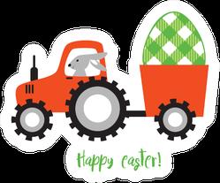 Bunny Farm Tractor Easter Sticker