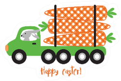 Bunny Logging Truck Easter Design Sticker