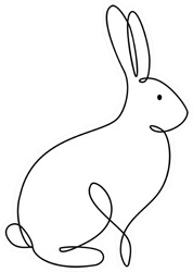 Bunny Rabbit Line Art Icon Sticker