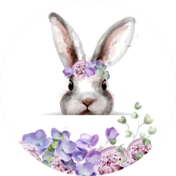 Bunny Rabbit With Flowers Watercolor Sticker