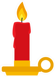 Burning Candle in Candlestick Holder Sticker