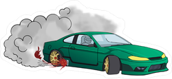 Burnout Japanese Drift Sports Car JDM Sticker