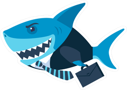 Business Shark On His Way To Work Sticker