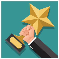 Businessman Hand Holding Star Award Sticker