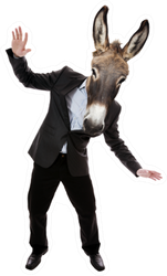 Businessman With Donkey Head Funny Sticker