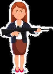 Businesswoman Holding Rifle Gun Sticker