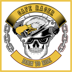 Cafe Racer Eagle And Skull Bikers Sticker