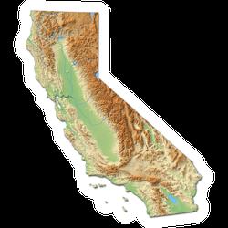 California 3d-Rendering Map Sticker