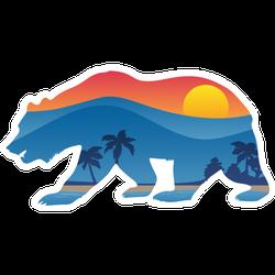 California Bear With Mountain Shoreline Sticker