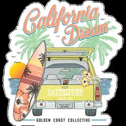 California Dream Car Illustration Sticker