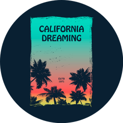 California Dreaming Colorful Sunset Palm Illustration Sticker