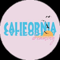 California Dreaming Slogan Illustration Sticker