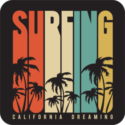 California Dreaming Surfing Sticker