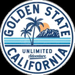 California, Golden State Text Circle Sticker