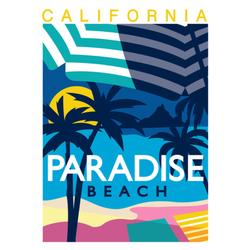 California Paradise Beach Sunset Sticker