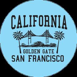 California San Francisco Golden Gate On Blue Sticker