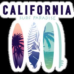 California Surf Paradise Illustration Sticker