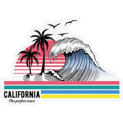 California Theme Text With Waves Sticker