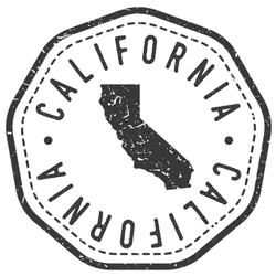 California, Usa Map Stamp Sticker