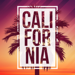 California With Palm And Frame Sticker