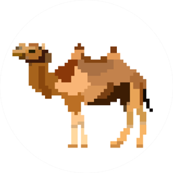 Camel Pixel Art Color Icon Game Sticker