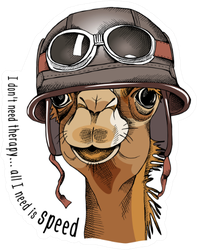 Camel Portrait In A Racer Retro Helmet Sticker