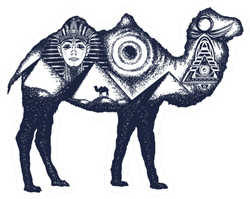 Camel Tattoo Art. Ancient Egypt Sticker