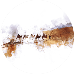 Camels And People On Silk Road,  Watercolor Illustration Sticker
