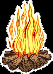Campfire Cartoon Illustration Sticker