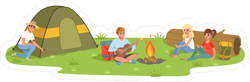 Camping Friends Sitting Near The Fire Sticker