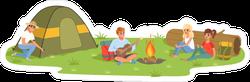 Camping Friends Sitting Near The Fire Sticker