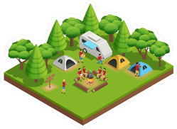 Camping Isometric Sticker