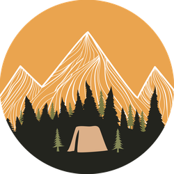 Camping Tent In Pine Forest Sticker