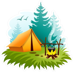 Camping With Tent And Campfire Sticker