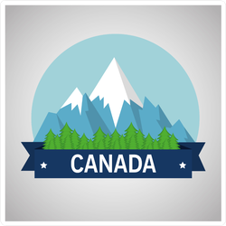 Canadian Mountains With Snow Sticker