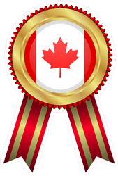 Canadian Winner Badge With Red Ribbon Sticker