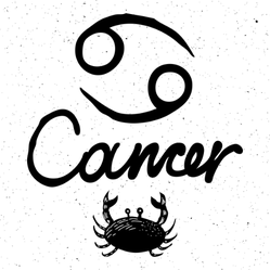 Cancer Zodiac Hand Drawing Sticker