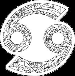 Cancer Zodiac Linear Design Sticker