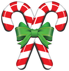 Candy Cane With Ribbon Sticker