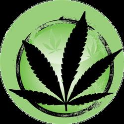 Cannabis Leaf Illustration Circle Sticker