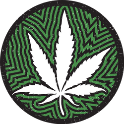 Cannabis Leaf In Circle With Green Stripes And Galaxy Sticker