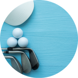 Cap, Golf Balls, Golf Clubs On Blue Wooden Table Sticker