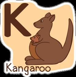 """Capital Letter """"k"""" Kangaroo Sticker"""
