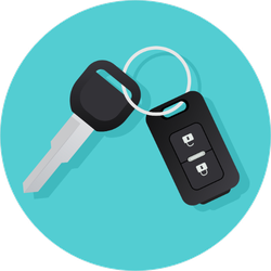Car Key and Remote Circle Sticker