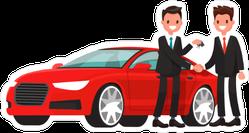 Car Salesman and Customer Sticker