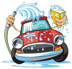 Car Wash With Sponge And Hose Sticker