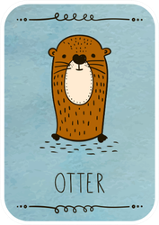 Card With Cartoon Otter On Watercolor Sticker