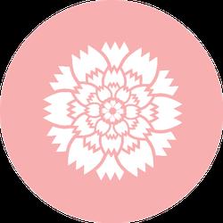 Carnation Flower Icon On Pink Sticker